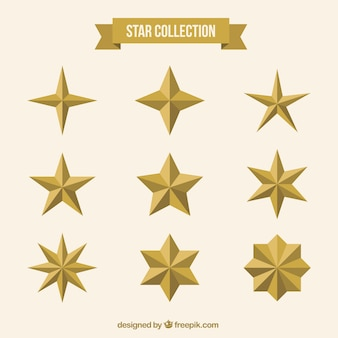 Collection of golden stars in flat design