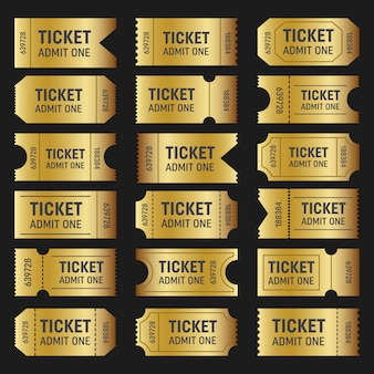 Collection of golden tickets. templates movie, cinema.
