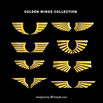 Collection of golden wing logos in flat design