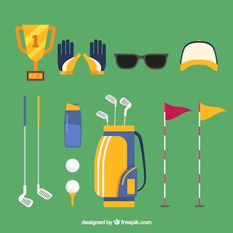 Collection of golf elements in flat style