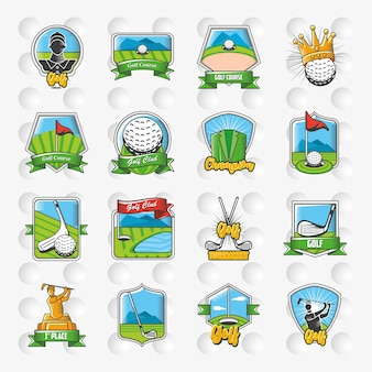 Collection of golf emblems, shields and labels illustration design