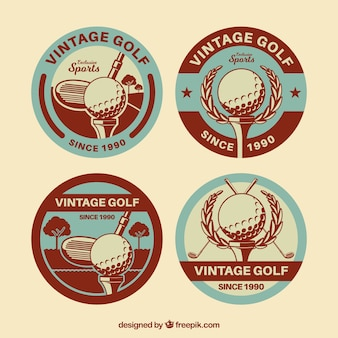 Collection of golf labels in retro style