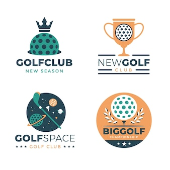 Collection of golf logo template in flat design
