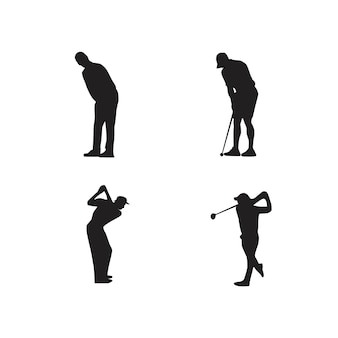 Collection of golf player silhouettes