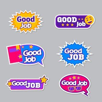 Raccolta di adesivi di buon lavoro