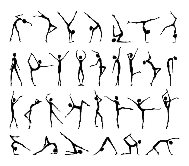 Collection of graceful abstract female silhouettes in various poses