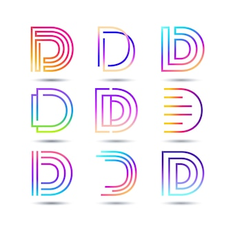 Collection of gradient d logo templates