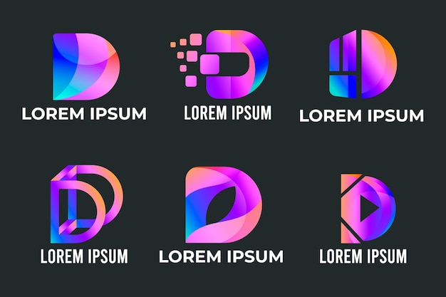 Collection of gradient d logos