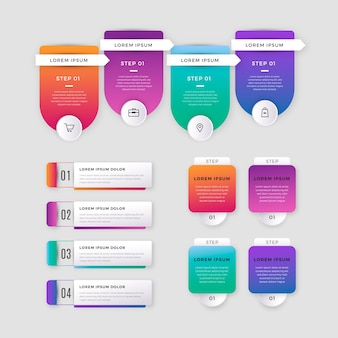 Collection of gradient infographic elements