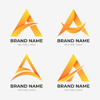 Collection of gradient a logo template