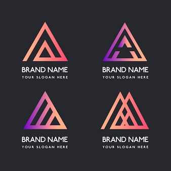 Collection of gradient a logo templates