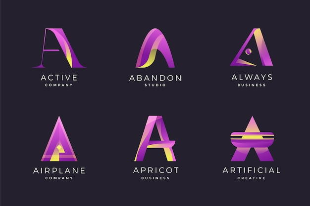Collection of gradient a logos