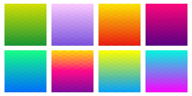 Collection of gradient polygonal backgrounds of rhombus. geometric design in different colours