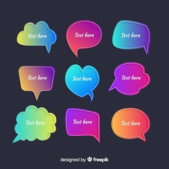 Collection of gradient speech bubbles