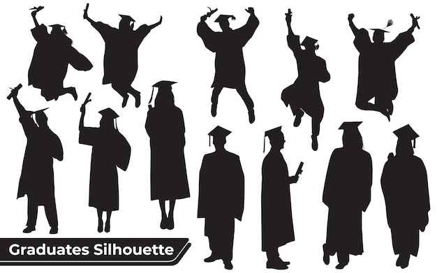 Collection of graduates celebrating silhouettes in different poses