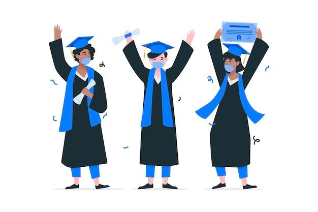 Collezione di laureati che indossano maschere mediche