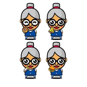 食べ物を保持しているコレクションおばあちゃんセットベクトルイラストフラットスタイルの漫画のキャラクターのマスコット
