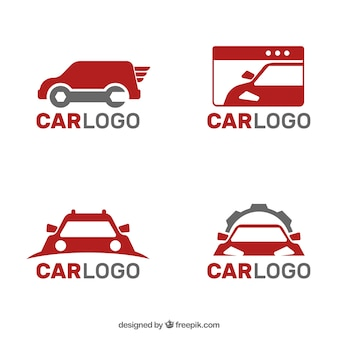 Collection of gray and red car logos