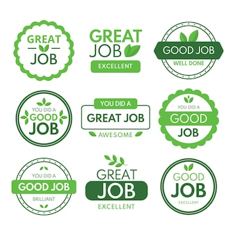 Collection of great job and good job stickers