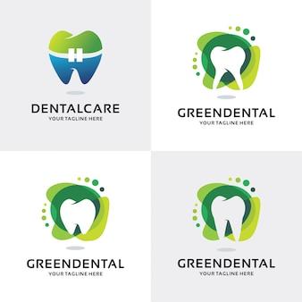 Collection of green dental logo set design template