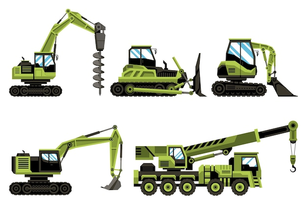 Collection of green excavators