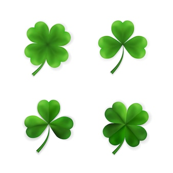 Collection of green four and tree leaf clovers