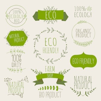 Collection of green labels and badges for organic, natural, bio and eco friendly products. vintage ,green colors.
