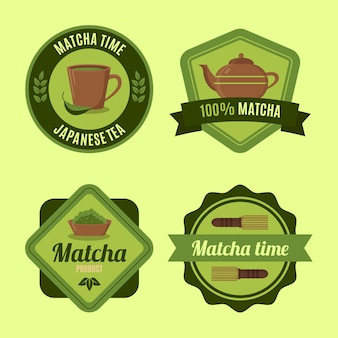 Collection of green matcha tea badges