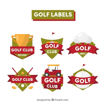 Collection of green and red golf labels