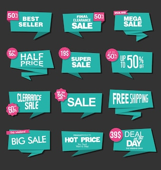 Collection of green sale stickers and tags