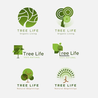 Collection of green tree life logo