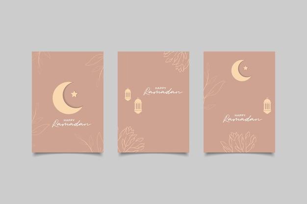 Collection greeting card for happy ramadan