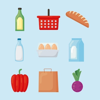 Collection of groceries store set icons