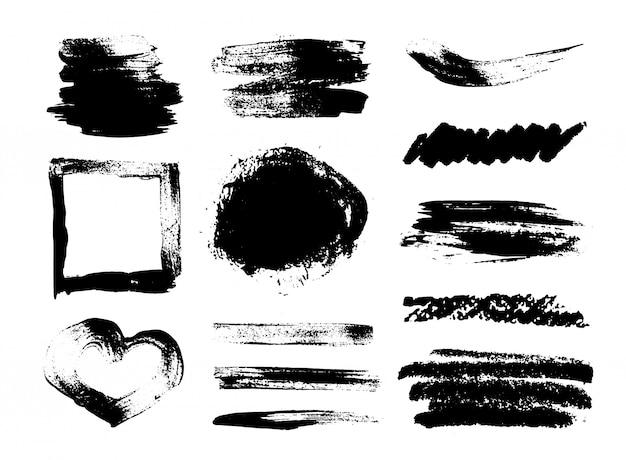 Collection of grunge brush strokes, heart shaped frame on a white background.  set