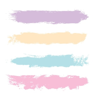 Collection of grunge brush strokes in pastel colours