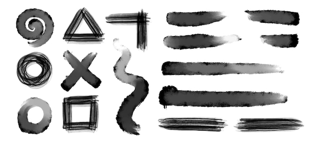 Collection of grunge brushstrokes black