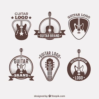 Collection of guitar logos in vintage style