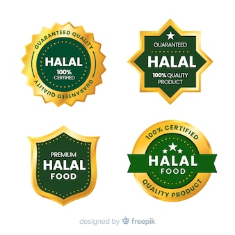 Collection of halal food badges