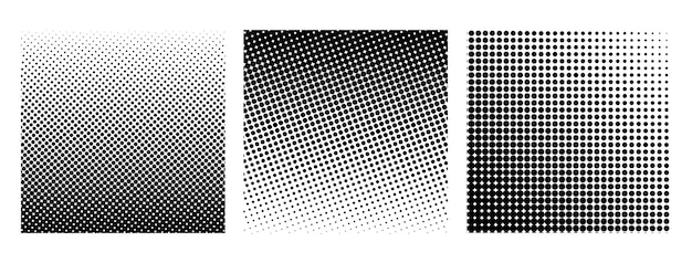 Collection of halftone square isolated on white