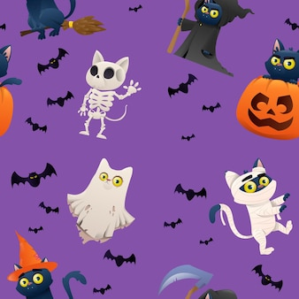 Collection of halloween on backgraund characters cats