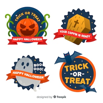 Collection of halloween badge in flat design