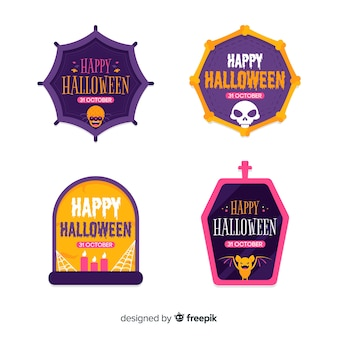 Collection of halloween badges flat design