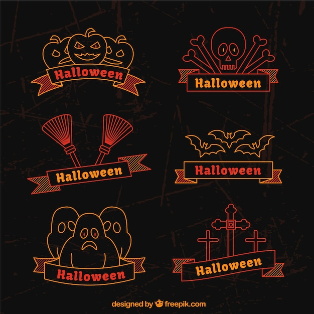 Collection of halloween badges in flat style