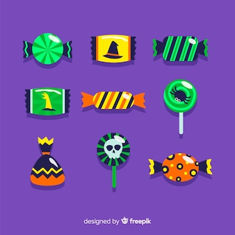 Collection of halloween candies with flat design