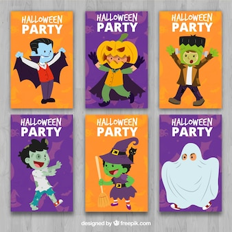 Collection of halloween cards with characters