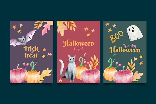 Collection of halloween cards with pumpkins