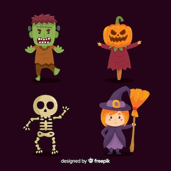 Collection of halloween characters in cartoon style