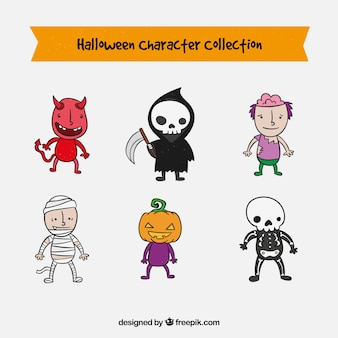 Collection of halloween characters in a cute hand drawn style