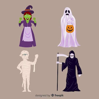 Collection of halloween characters on flat design