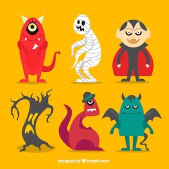 Raccolta di personaggi di halloween con mostri